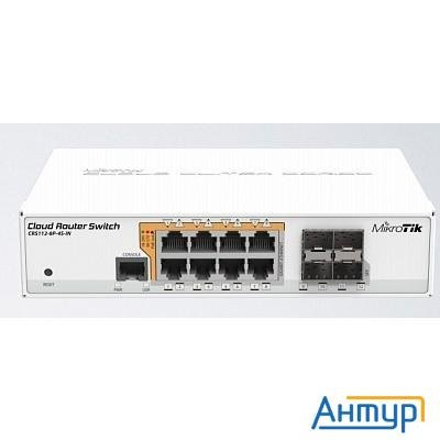 Mikrotik Crs112-8p-4s-in маршрутизатор 8х10/100/1000 Ethernet, 4 X Sfp Ports