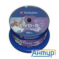 43512 Диски Dvd+r Verbatim 4.7gb 16-х, Wide Photo Inkjet Printable,  50 шт, Cake Box
